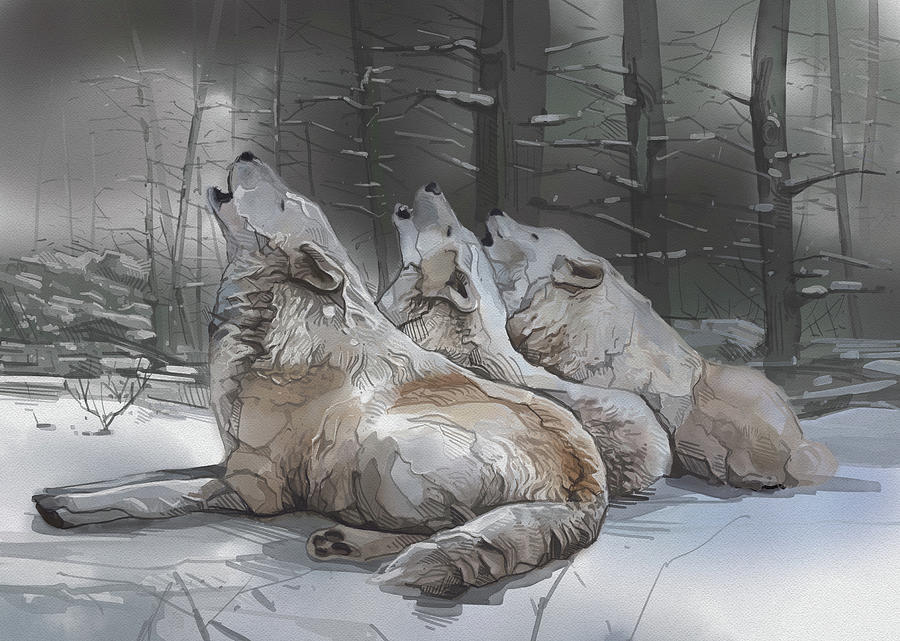 Howlin Wolves Digital Art