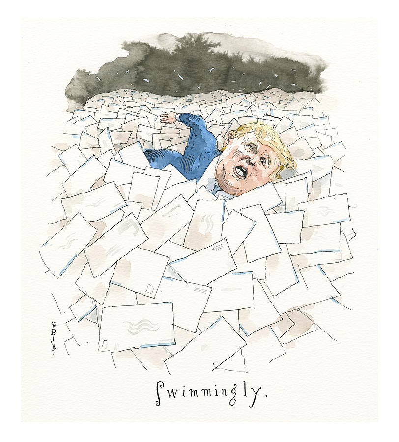Hows the Vote Count Going for Donald Trump? Painting by Barry Blitt