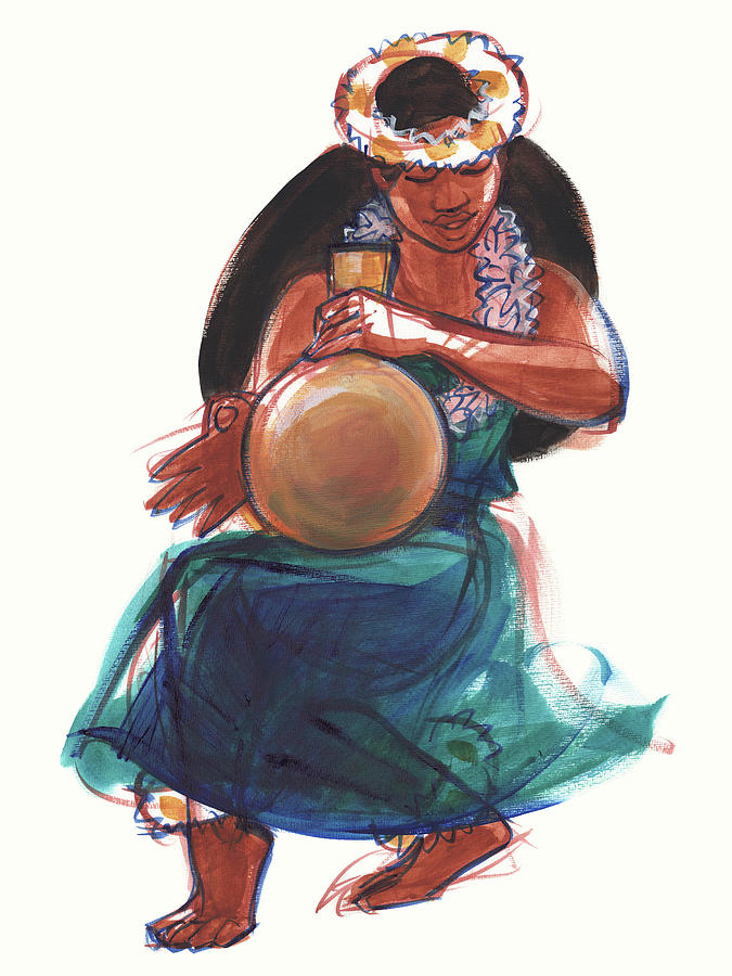 Hula Dancer with Gourd by Judith Kunzle