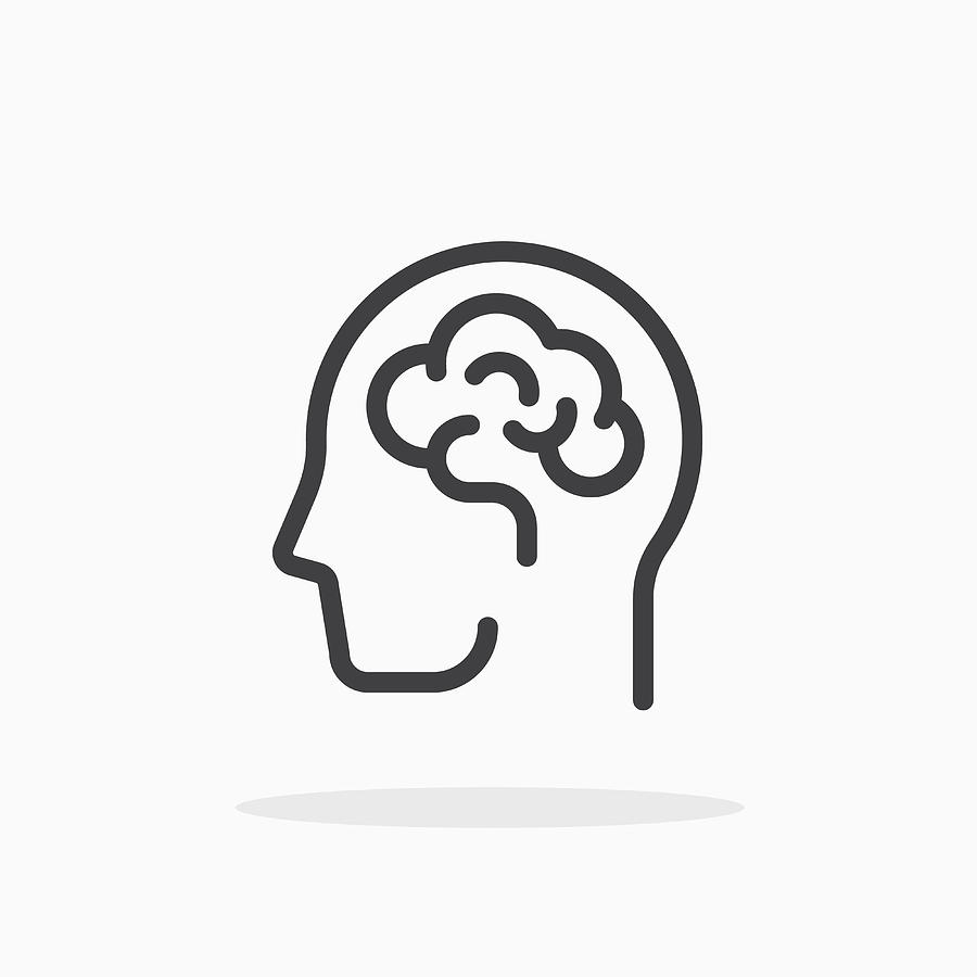 Human brain icon in line style. Drawing by Alex_profa