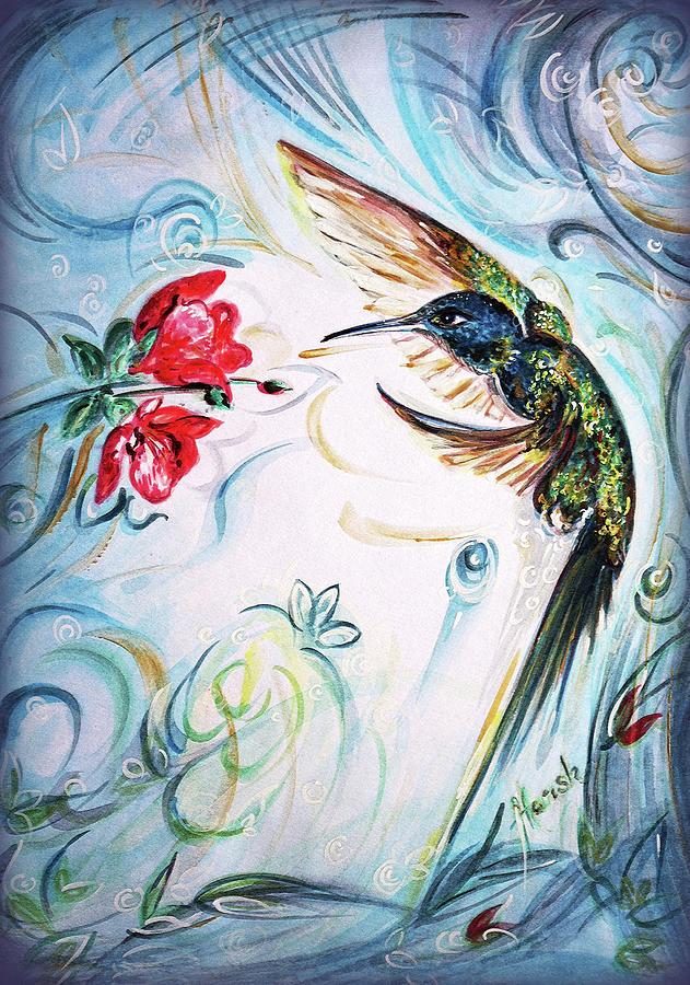 Humming Bird Painting - Humming bird jewel in nature 3 by Harsh Malik
