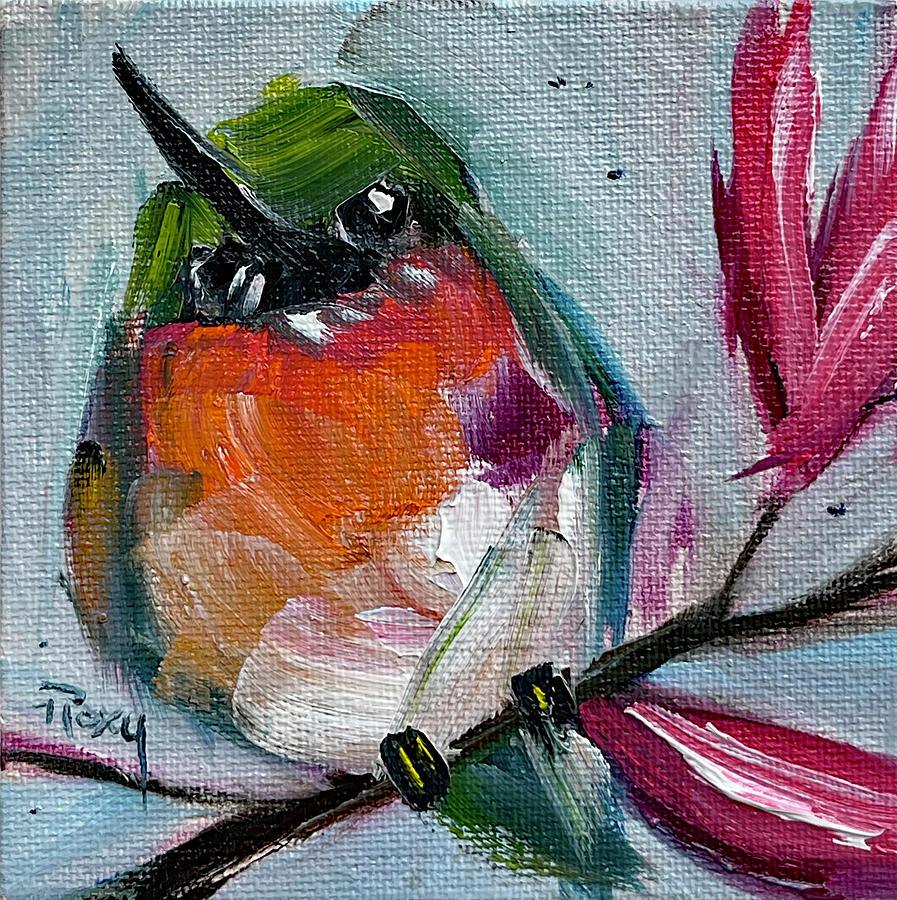 Hummingbird On A Magnolia Branch Painting