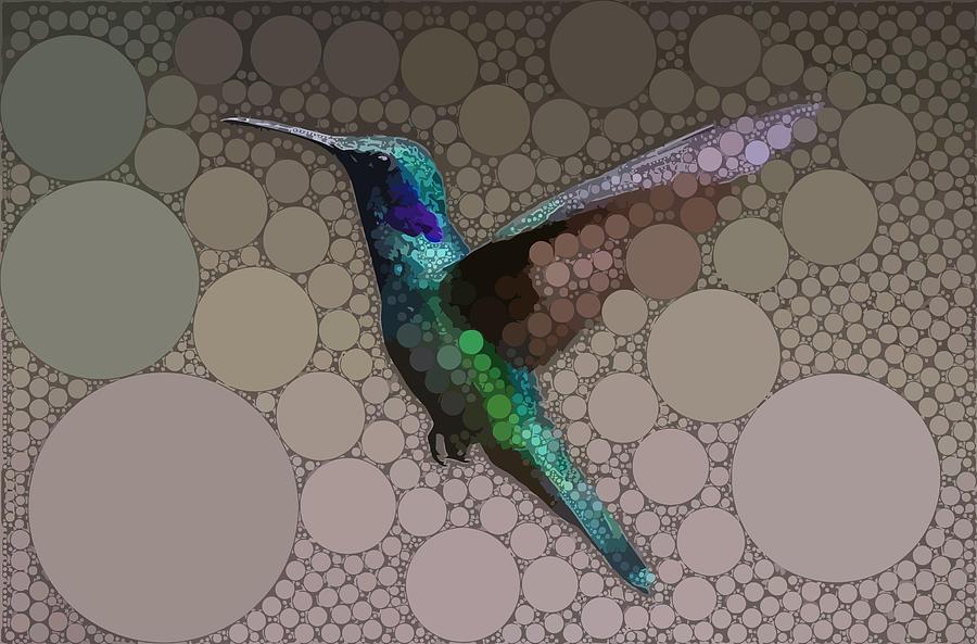 Green Digital Art - Hummingbird Takes Flight by Dahl Winters