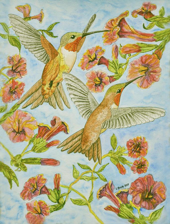 Hummingbirds And Hibiscus IIi Painting