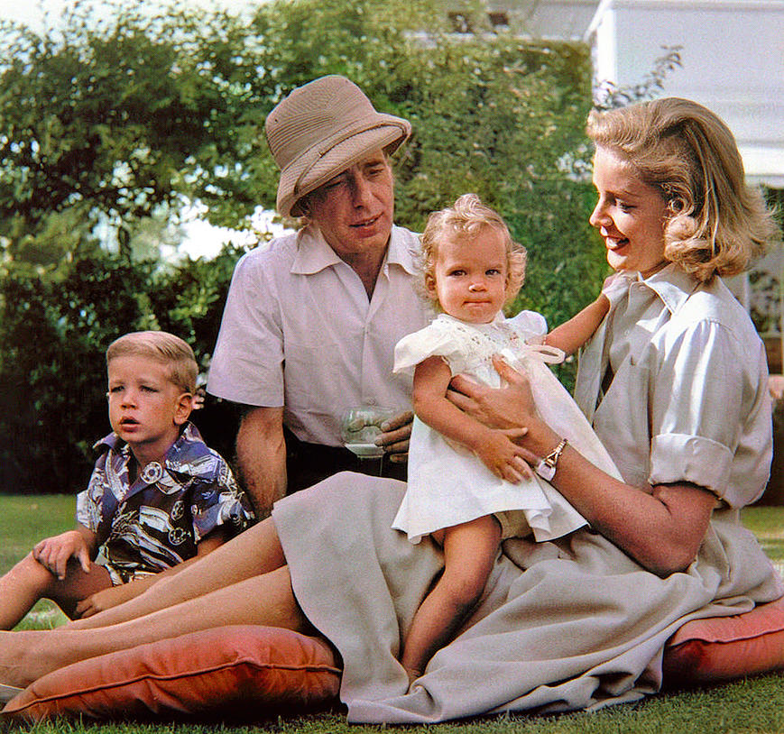 Humphrey Bogart And Lauren Bacall, At Home, With Their Children Stephen And Leslie - Beverly Hills, Digital Art