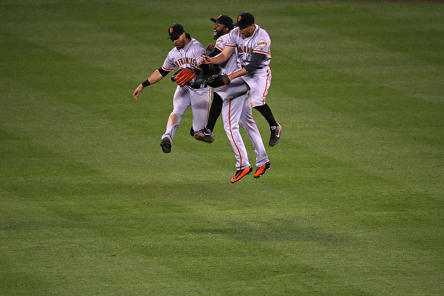 Hunter Pence, Denard Span, and Angel Pagan Photograph by Doug Pensinger
