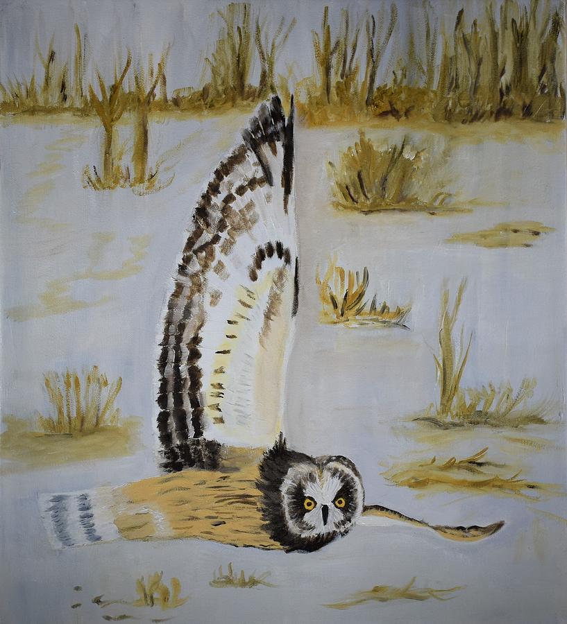 Owl Painting - Hunting Owl by Charla Van Vlack