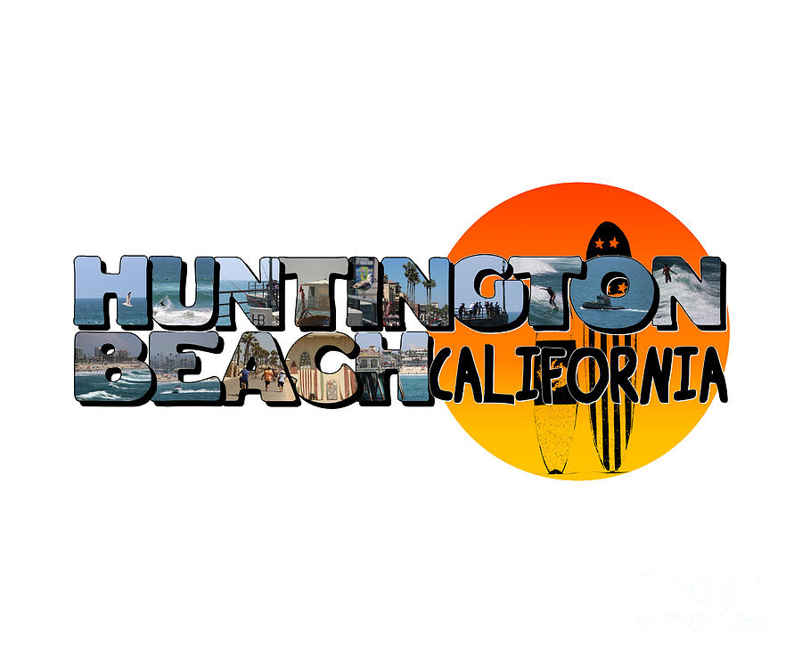Huntington Beach California Big Letter with Sun by Colleen Cornelius