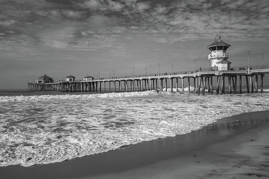 Huntington Beach Pier in Black and White by Cliff Wassmann