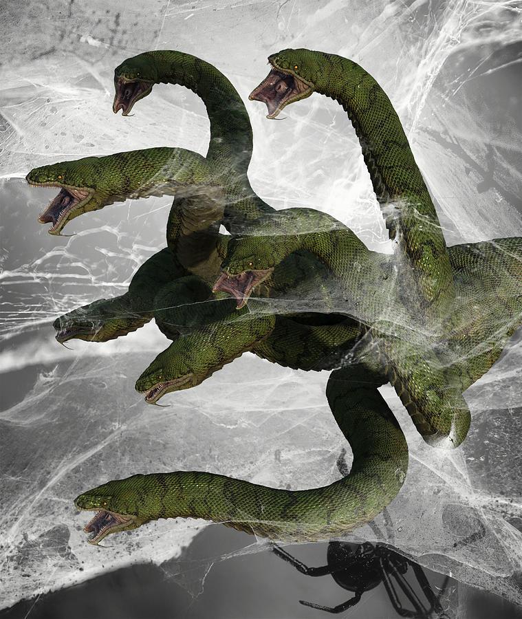 Hydra Snake Monster Fantasy 6 Digital Art