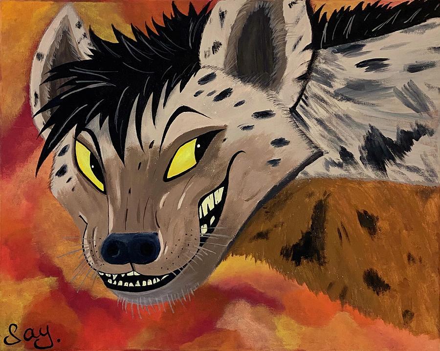 Hyena Painting - Hyena by Mike Boodram
