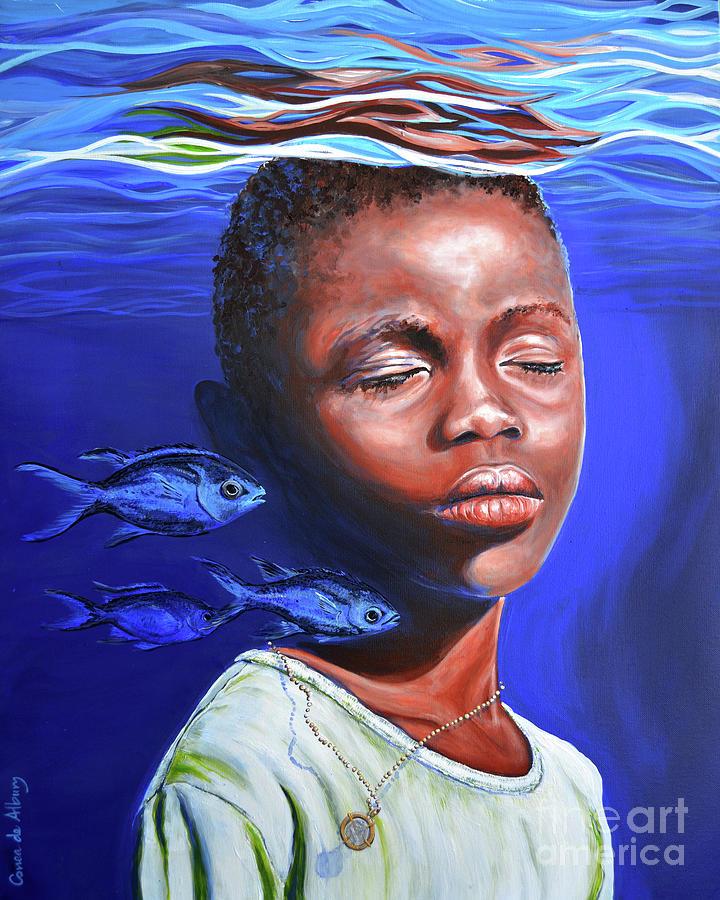 Ocean Painting - I Am The Ocean. I Am With Him. by Paola Correa de Albury