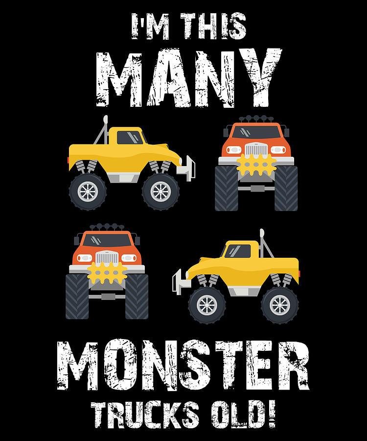 I Am This Many Monster Trucks Old Boys Monster Truck Digital Art By Jmg Designs