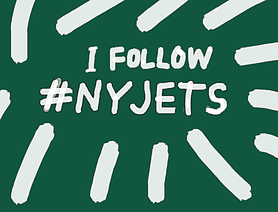 i follow N Y Jets striped design  by Enki Art
