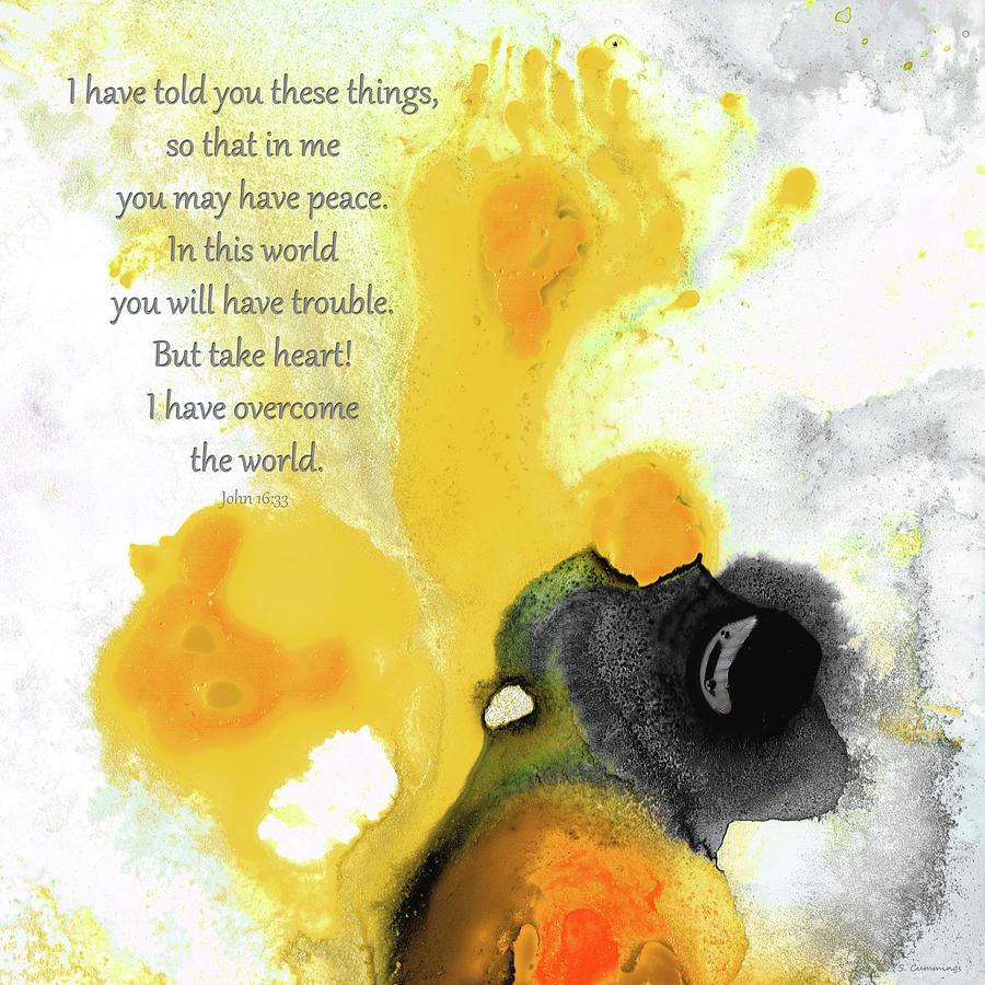John 16:33 Painting - I Have Overcome The World - John 16 33 Bible Verse Art - Sharon Cummings by Sharon Cummings
