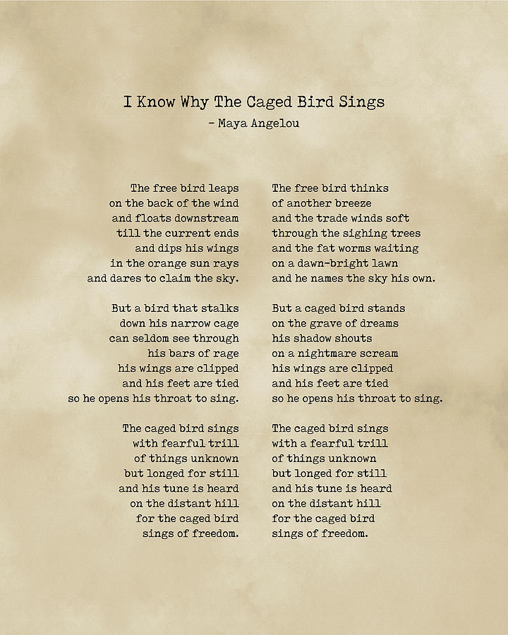 Maya Angelou Digital Art - I Know Why the Caged Bird Sings - Maya Angelou - Literature - Typewriter Print on Old Paper by Studio Grafiikka