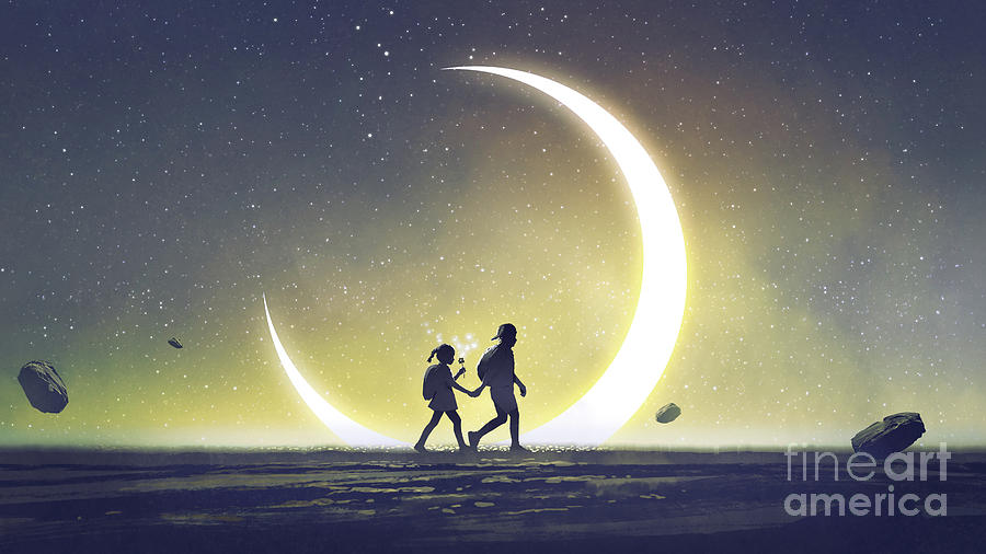 Illustration Painting - I will take you to a special place by Tithi Luadthong