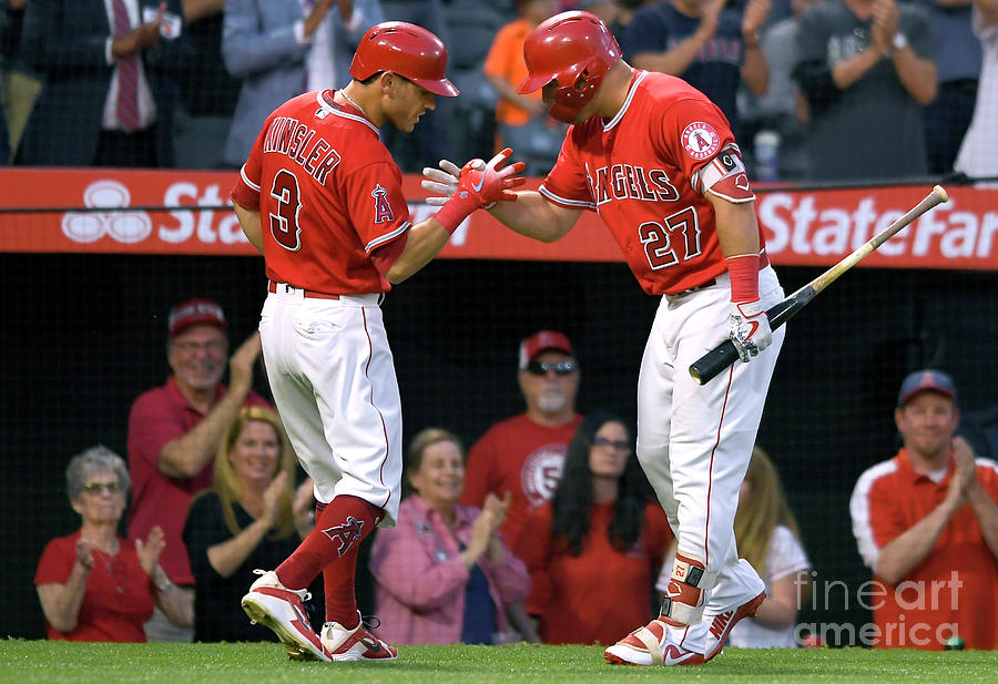 Ian Kinsler And Mike Trout Photograph by John Mccoy