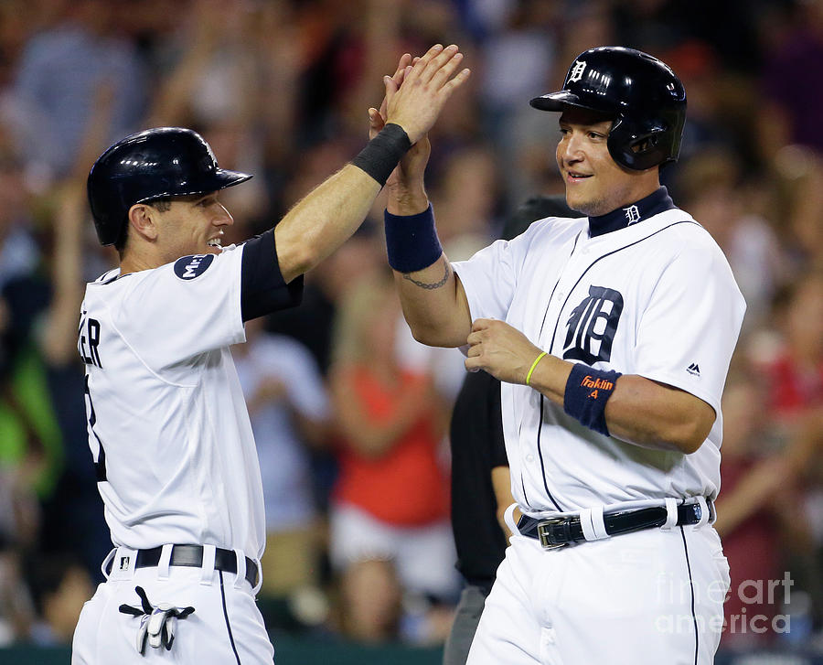 Ian Kinsler, Nick Castellanos, And Miguel Cabrera Photograph by Duane Burleson