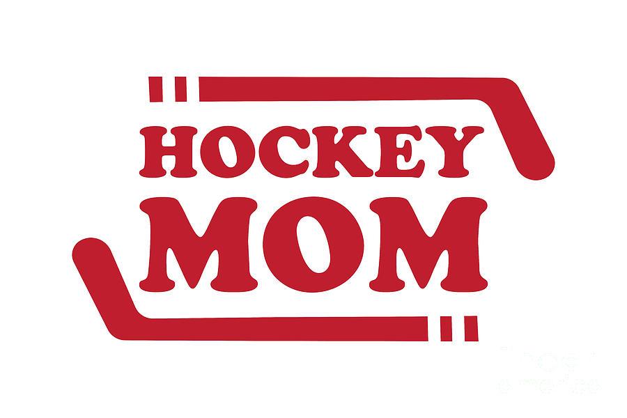 Ice Hockey Mom Red Digital Art