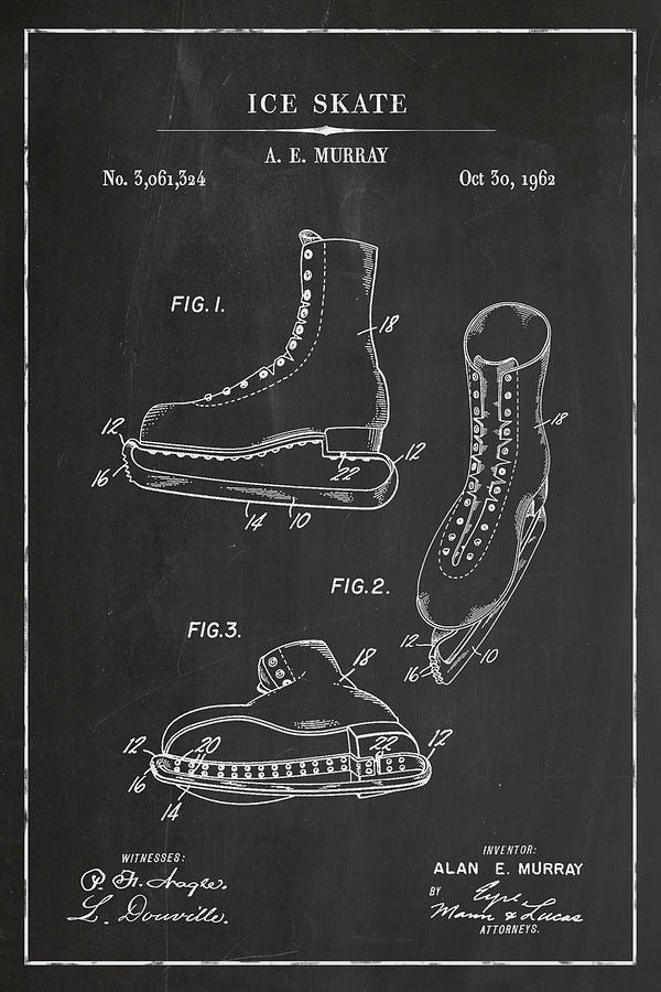 Ice Skate Blueprint Patent in Chalk Winter Patent Art by Florian Rodarte