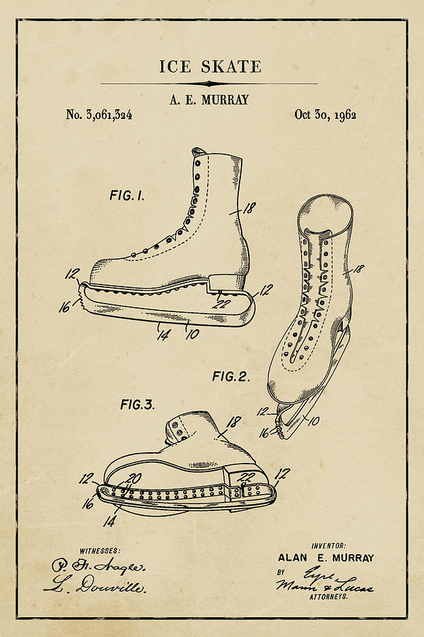 Ice Skate Blueprint Patent on Aged Paper Winter Patent Art by Florian Rodarte