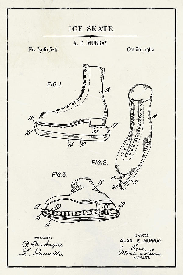 Ice Skate Blueprint Patent on Ivory Paper Winter Patent Art by Florian Rodarte