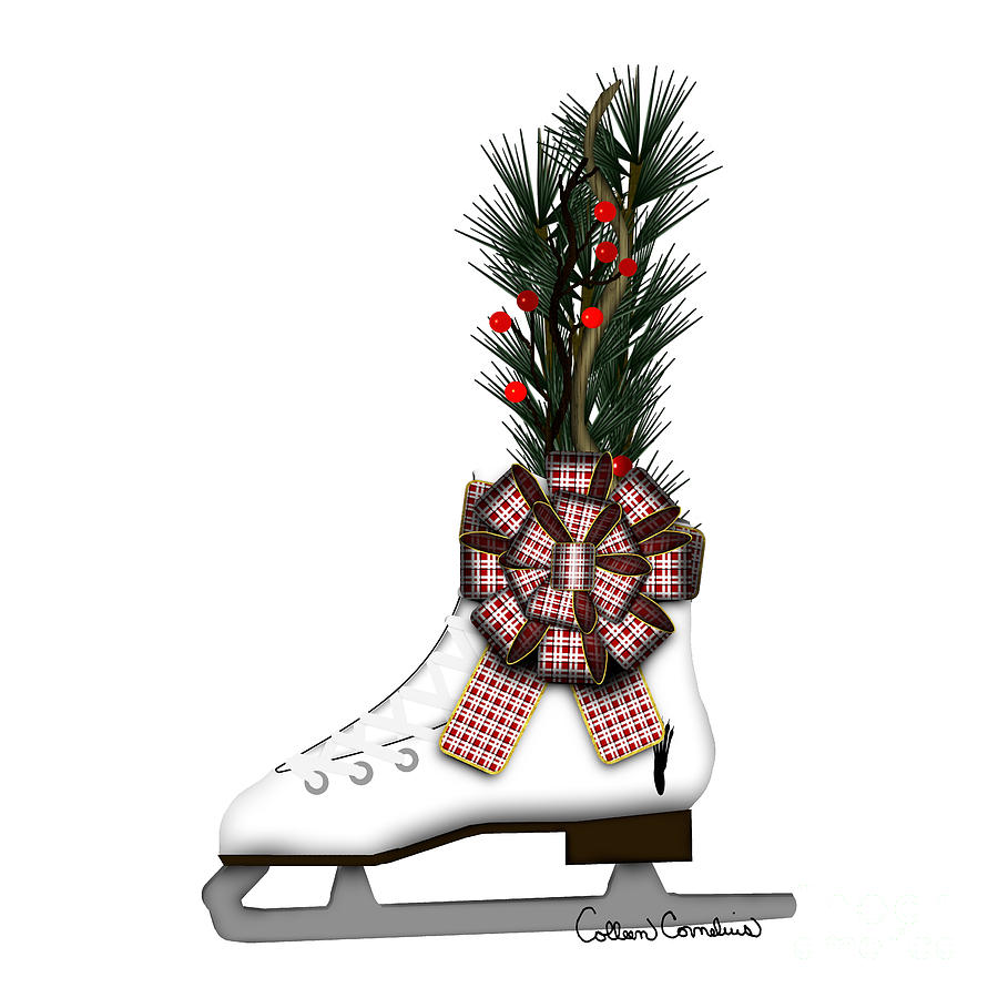 Ice Skate Photograph - Ice Skate Christmas Decoration with Tartan Bow by Colleen Cornelius