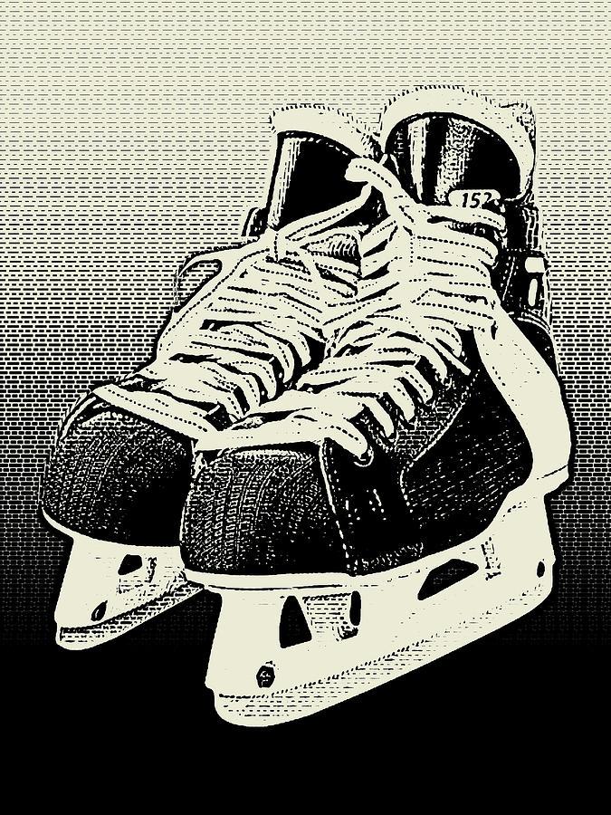 Ice Skates Black Monochrome by Flo Karp