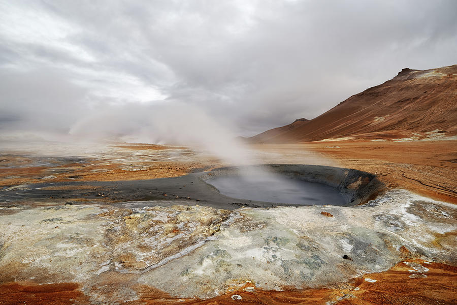 Volcano Photograph - Iceland - volcanic landscape - geothermal area with steam outlet by Ralf Lehmann