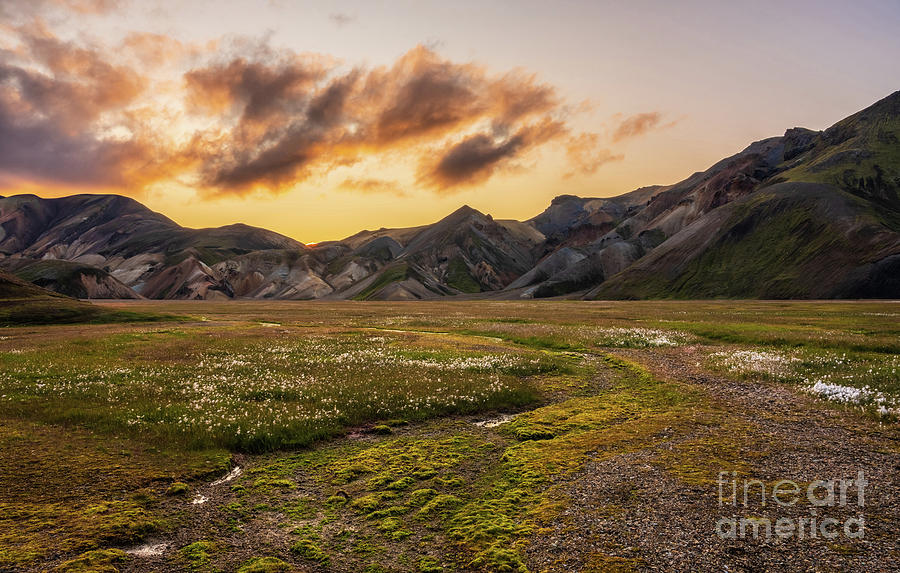 Icelandic Highlands Vondugil Valley Sunset Photograph
