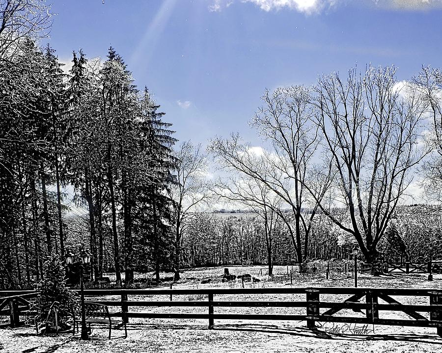 Icy farm scene in Eastern Connecticut. by Rusty R Smith