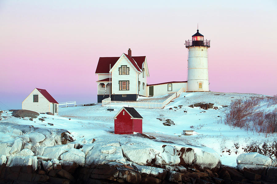 Nubble Photograph - Icy Nubble Lighthouse by Eric Gendron