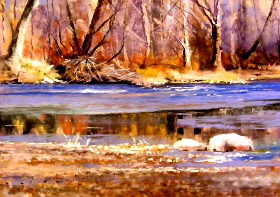 Icy River Painting by Joseph Barani