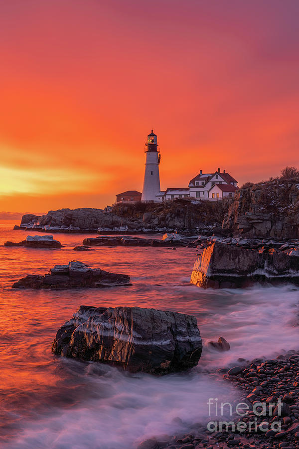 Icy Sunrise at Portland Head Light by Jesse MacDonald
