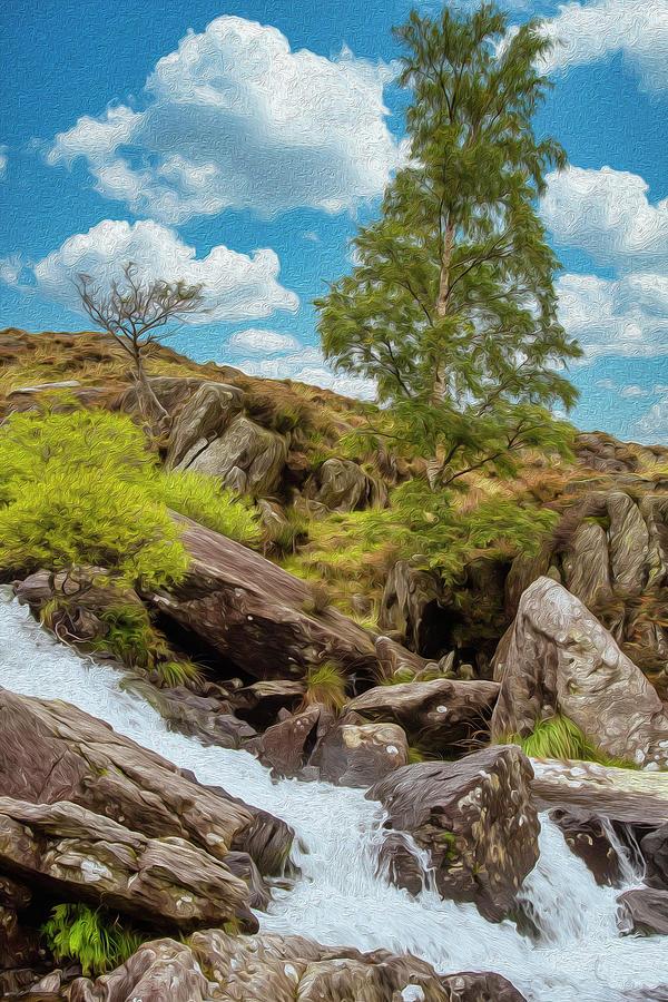 Idwal Waterfall Mixed Media