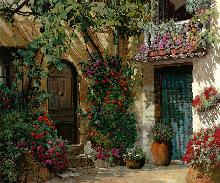 Landscape Painting - Fiori In Cortile by Guido Borelli