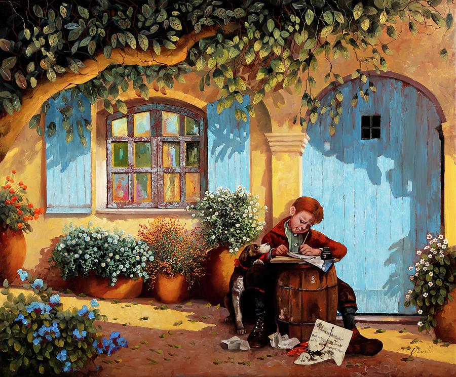Writer Painting - Il Piccolo Scrivano  by Guido Borelli