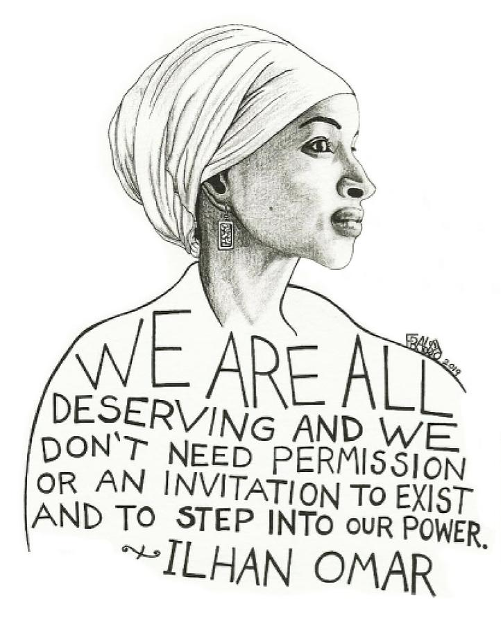 Pen And Ink Illustration Drawing - Ilhan Omar Drawing by Rick Frausto