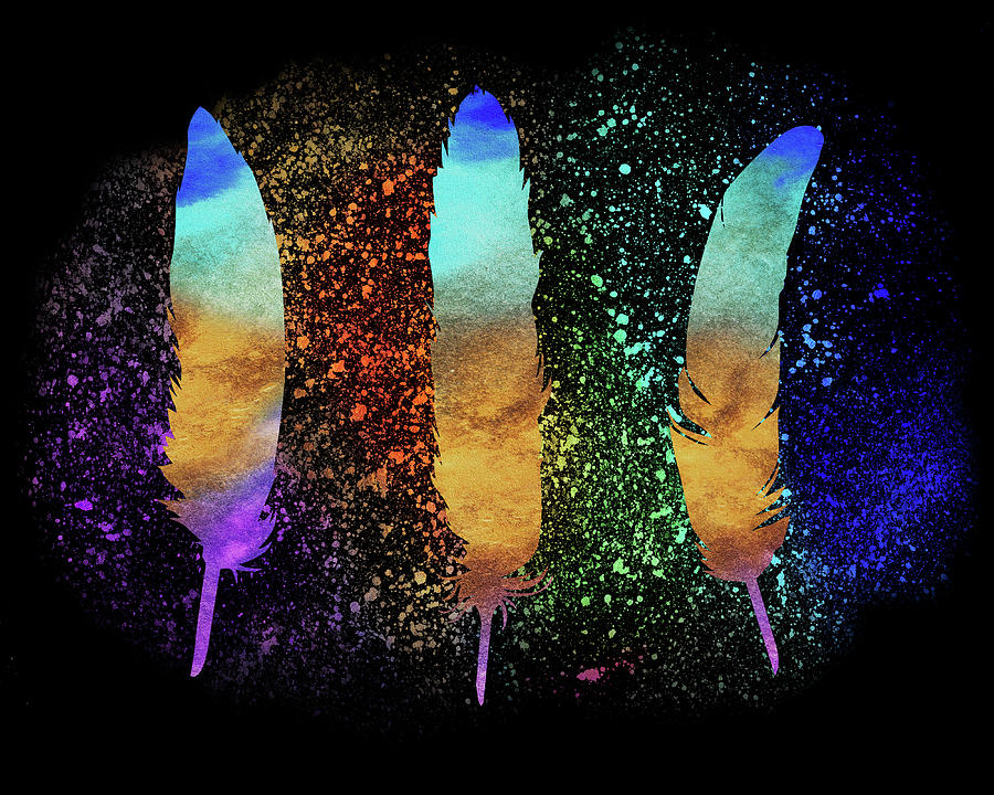 Illuminated Glowing Feathers Silhouettes In Watercolor Painting