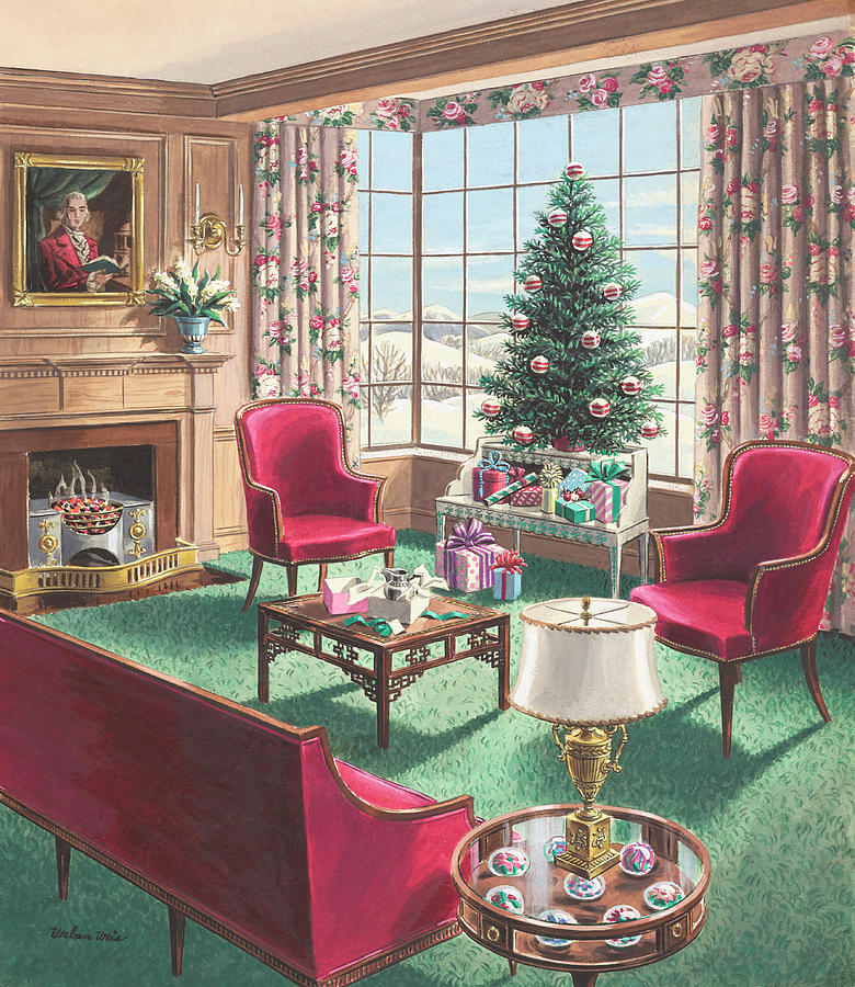 Illustration Of A Christmas Living Room Scene Painting by Urban Weis