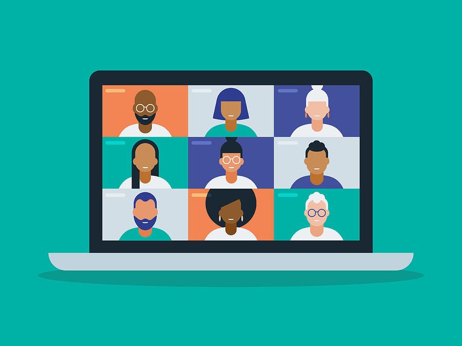 Illustration of a diverse group of friends or colleagues in a video conference on laptop computer screen Drawing by RLT_Images