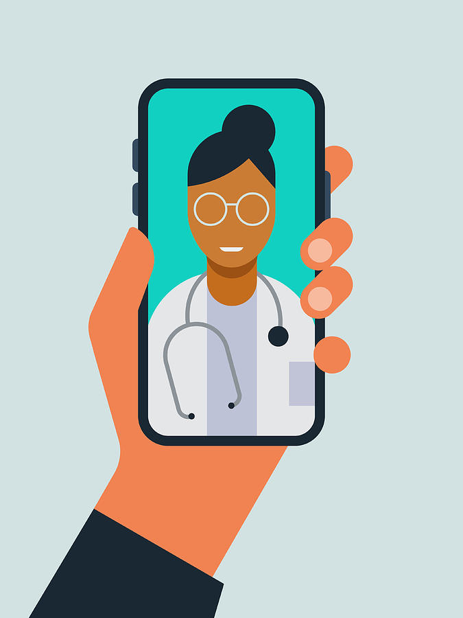 Illustration of hand holding smart phone with doctor on screen during telemedicine doctor visit Drawing by RLT_Images
