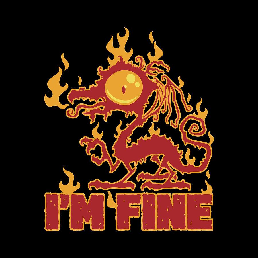 Im Fine Burning Dragon Digital Art