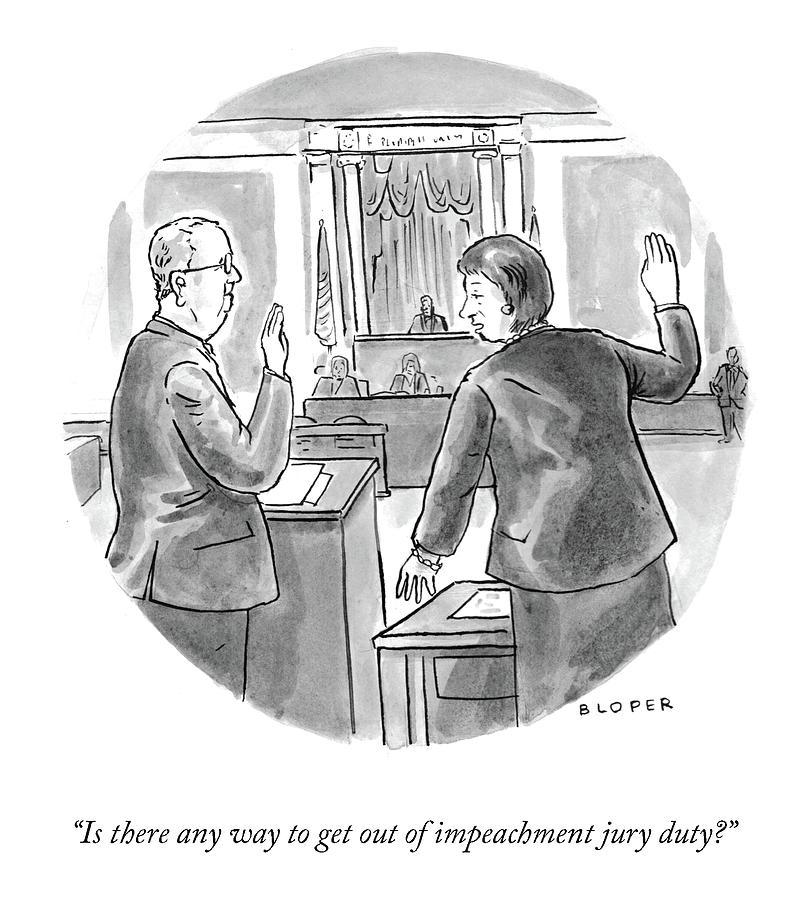 Impeachment Jury Duty Drawing by Brendan Loper