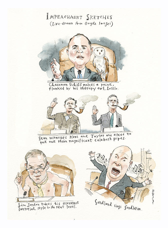 Impeachment Sketches Painting by Barry Blitt
