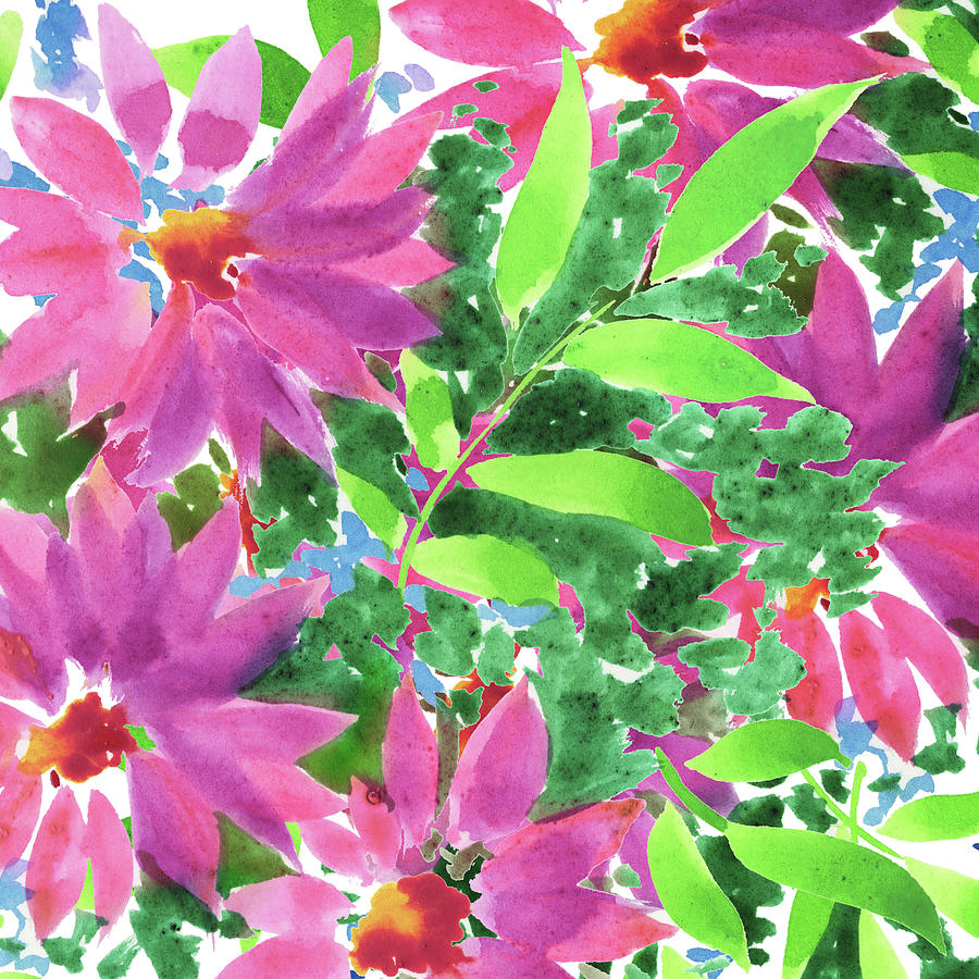 Impressionistic Flowerbed In Pink And Green Watercolor Painting