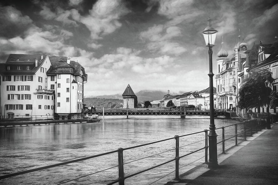 Impressions Of Lucerne Switzerland Black And White Photograph