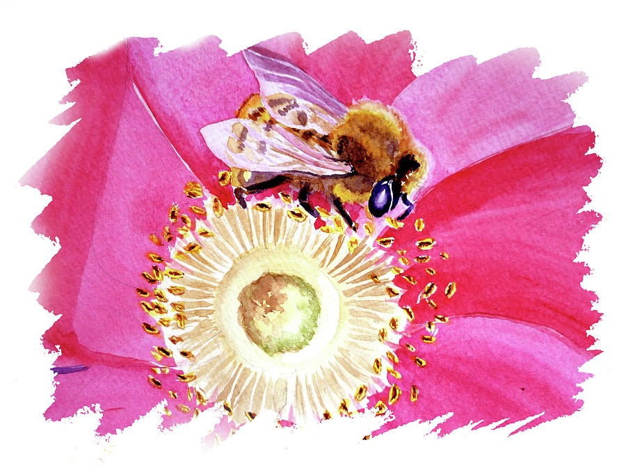 Impulse Of Nature Watercolor Bee On Flower Free Brush Strokes IIi Painting