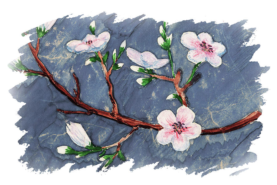 Impulse Of Nature Watercolor Cherry Blossoms Free Brush Strokes Iv Painting